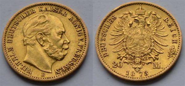 Deutsches Reich 20 Mark Gold 1873 Kaiser Wilhelm