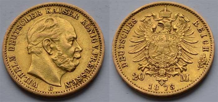 Deutsches Reich 20 Mark Gold 1873 Kaiser Wilhelm Aurum Edelmetallshop