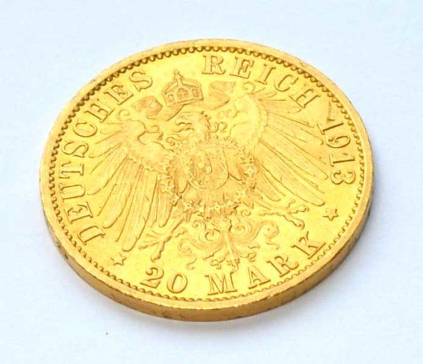 Deutsches-Reich-20-Goldmark-1913- Kaiser und König von Preussen
