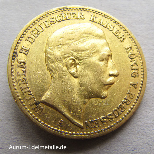 Deutsches Reich 20 Mark Gold 1889 Kaiser Wilhelm