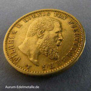 Deutsches Reich 20 Mark Wilhelm II von Württemberg 1894-1914