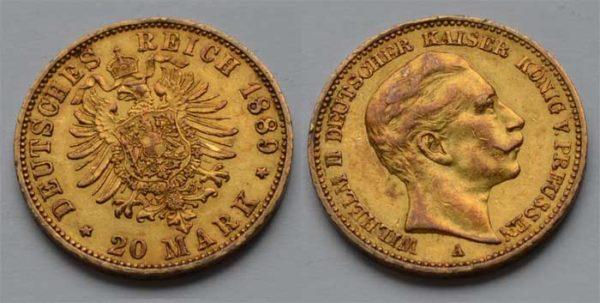 Deutsches Reich 20 Mark Gold 1889 Kaiser Wilhelm II
