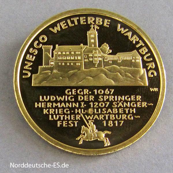 Deutschland 100 Euro 1_2 oz Feingold 9999 Wartburg Weltkultuererbe