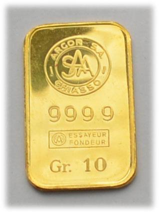 Goldbarren 10g Feingold 9999 Argor SAA Chiasso, Schweiz