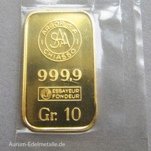 Goldbarren 10g Feingold 9999 Argor SAA Chiasso