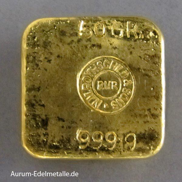 Goldbarren 50g Feingold 9999 Rothschild historisch