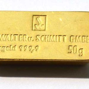 Goldbarren 50g Feingold 9999 Dr Walter und Schmitt