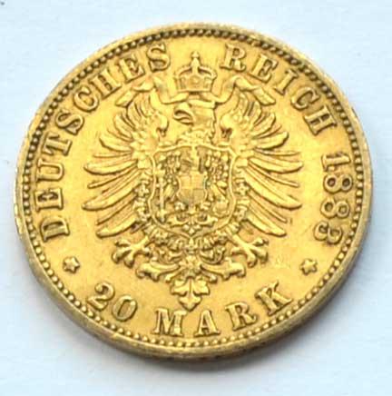 Deutsches Reich 20 Mark Gold 1883 Kaiser Wilhelm