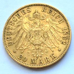 Deutsches Reich 20 Mark Gold 1892