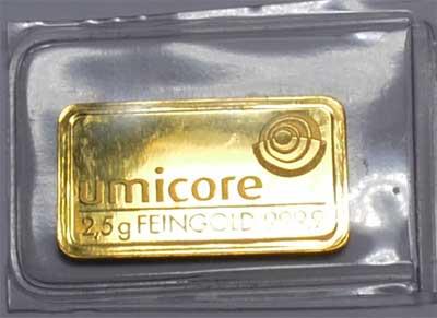 Goldbarren 2_5 Gramm Feingold 9999 Umicore Belgien