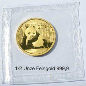 China Panda 200 Yuan 1_2 oz Feingold 999 Sammlermünze