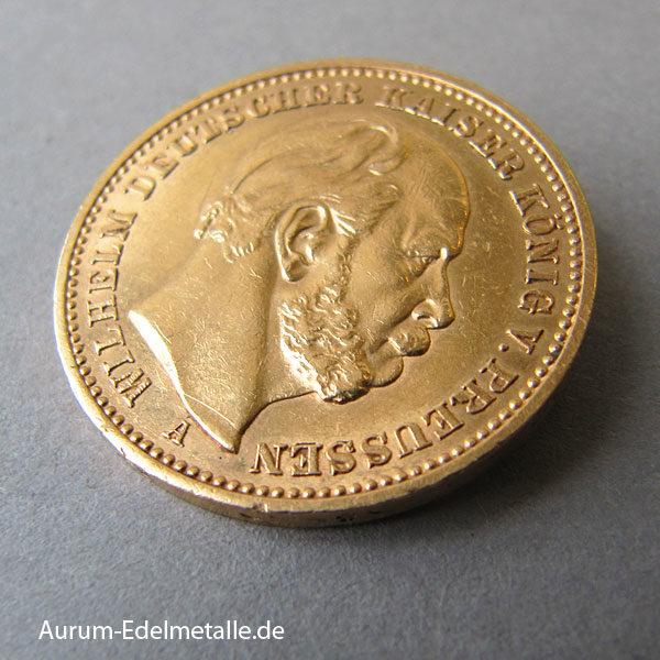Deutsches Reich 20 Mark Gold 1874-1888 Kaiser Wilhelm Preussen