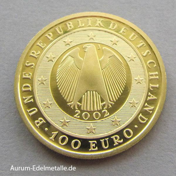 Deutschland 100 Euro Gold 2002 Währungsunion