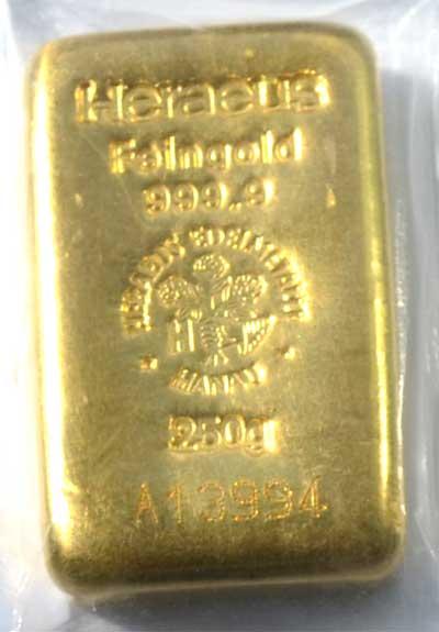 Goldbarren-250-Gramm-gegossen