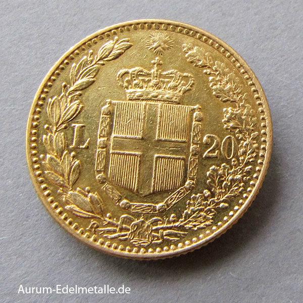 Italien 20 Lire 1882 Umberto 1 Goldmünze