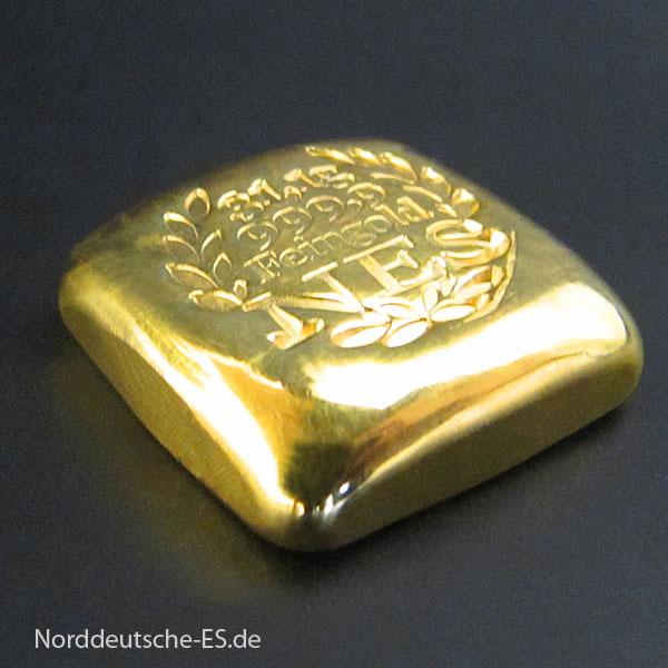 Goldbarren 1Unze Feingold 9999 ‰ Norddeutsche ES, gegossen, mit Zertifikat