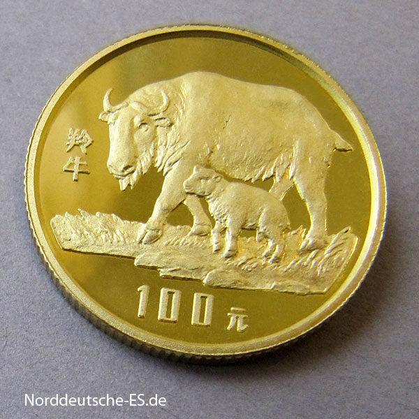 China Takin Goldmünze 1992 100 Yuan