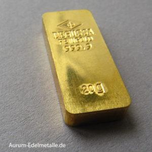 Goldbarren 20g Feingold 9999 historisch Degussa