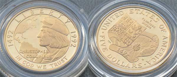 USA 5 $ Dollars Gold 500 Jahre Amerika Christopher Columbus Gedenkmünze