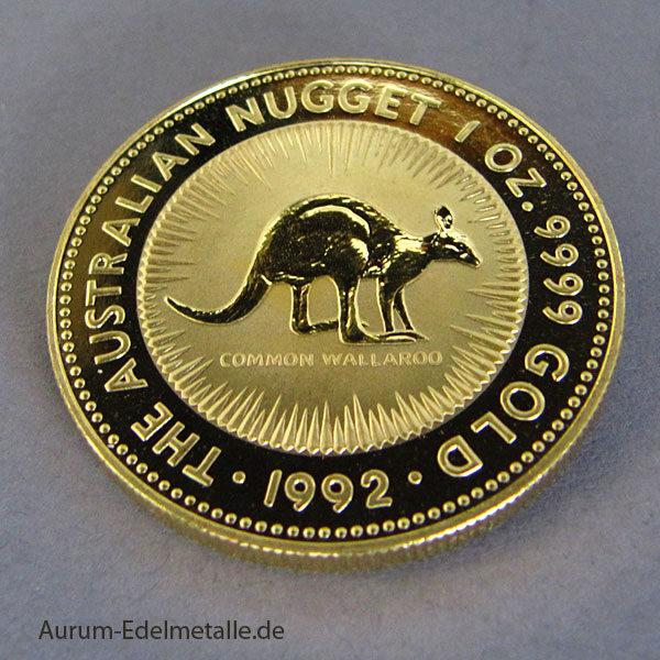 Australien Kangaroo Nugget 1 oz Goldmünze 1992