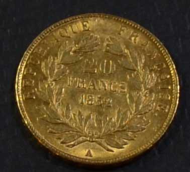 Frankreich-1852-Napoleon-Bonaparte-20-Francs-Goldmuenze