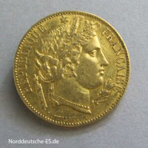 Frankreich 20 Francs Gold Ceres 1849-1851