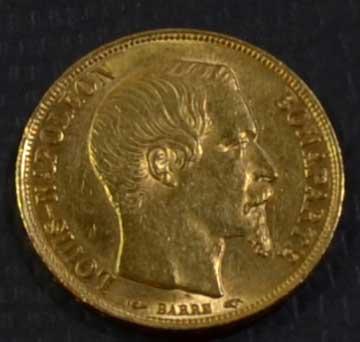 Frankreich 20 Francs Gold Napoleon Bonaparte 1852, 1855