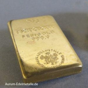 Goldbarren 20 Gramm Feingold 9999 Historisch Heraeus