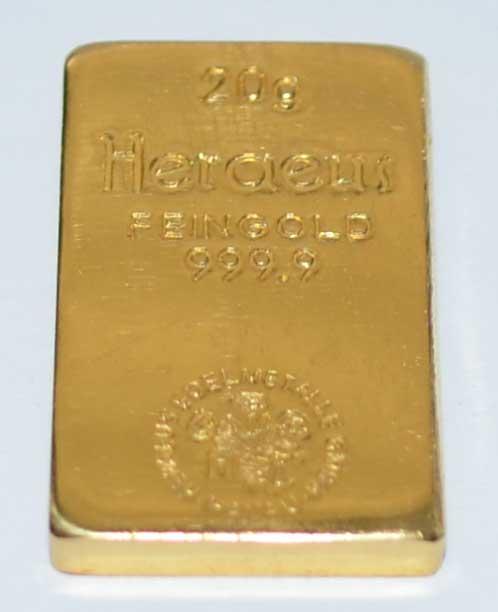 Goldbarren 20 Gramm Feingold 9999 historisch Heraeus Hanau