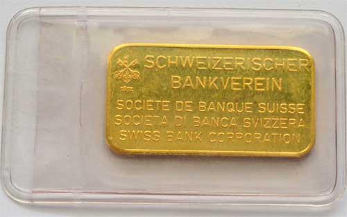 Goldbarren 20g Gold 9999 Schweizerischer Bankverein