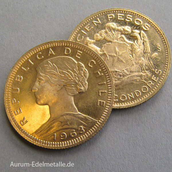 Chile 100 Pesos Goldmuenze Cien Pesos chilenische Goldpesos