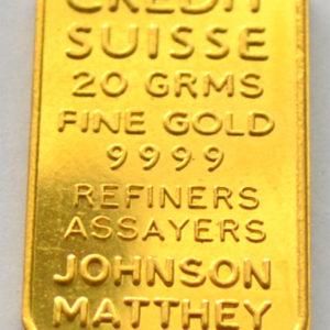 Goldbarren 20g Feingold 9999 Johnson Matthey für Credit Suisse