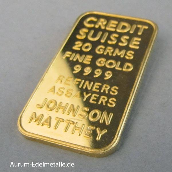 Goldbarren Johnson Matthey 20g Credit Suisse