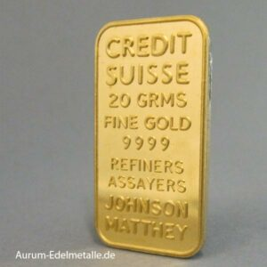 Goldbarren Johnson Matthey 20g Credit Suisse