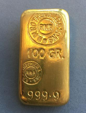 Goldbarren Rothschild 100g Feingold 9999 gegossen historisch