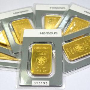 Goldbarren 1oz Feingold 9999 Heraeus Hanau
