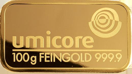 Goldbarren 100g Feingold 9999 Umicore Belgischer Edelmetallkonzern
