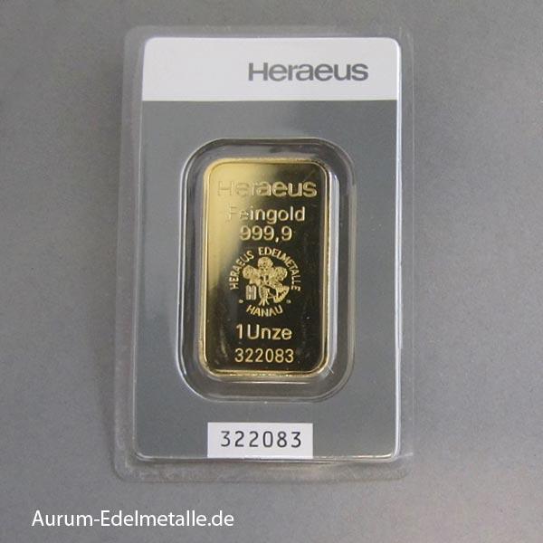 Goldbarren 1oz Feingold 9999 Heraeus