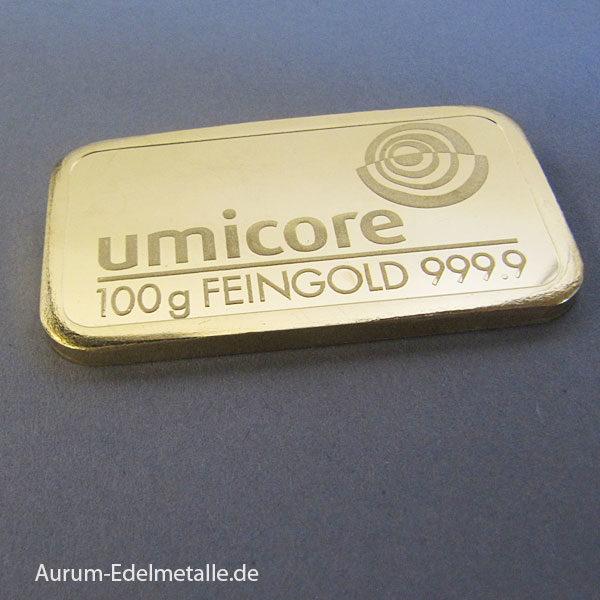 Goldbarren 100g Feingold 9999 Umicore - Belgischer Edelmetallkonzern