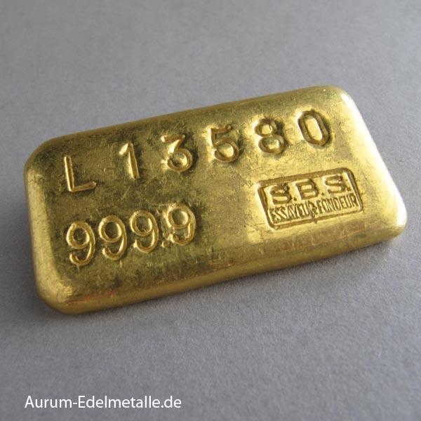 Historische Goldbarren SBS 100g Schweiz S.B.S Metaux Precieux