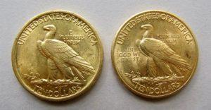Indian-Head-10-Dollar-vergleich-1907-1908