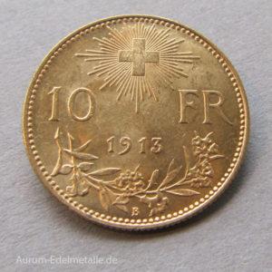 Schweiz 10 Franken Gold Vreneli 1911-1922