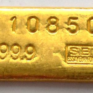 Goldbarren 100g Feingold 9999 Schweiz - historischer Barren