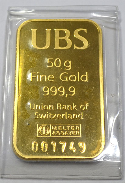Goldbarren 50g Feingold 9999 der U.B.S. Schweiz