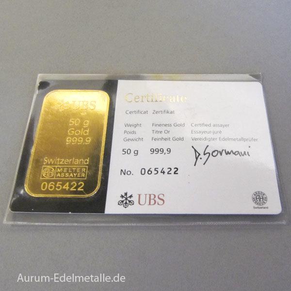 Schweiz Goldbarren 50g Feingold 9999 UBS