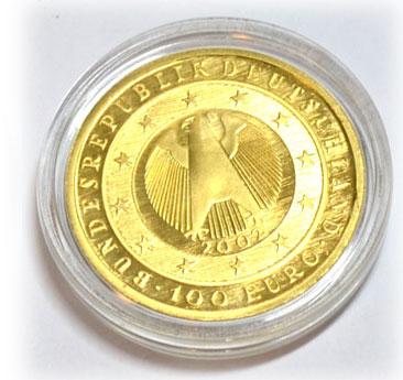 Deutschland-Waehrungsunion-100-Euro-Goldmuenze