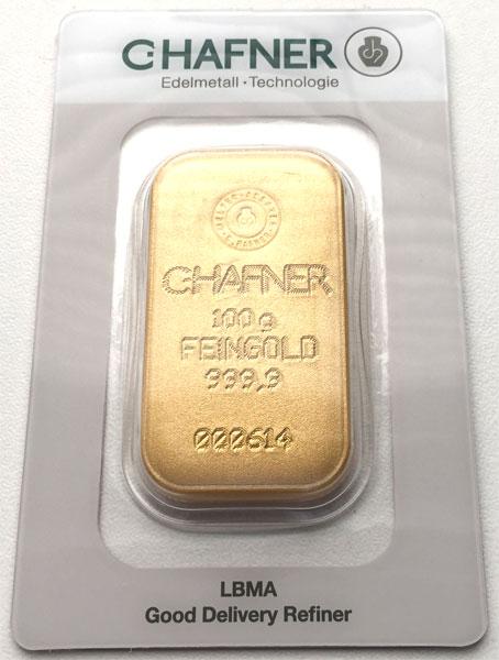 Goldbarren-100g-Hafner-gegossen