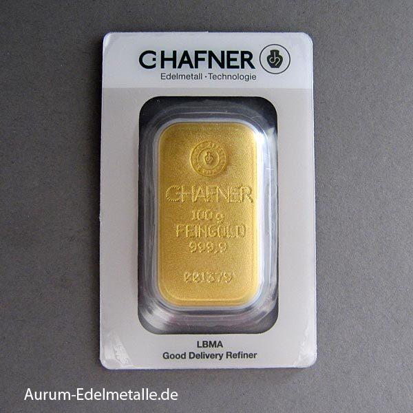 Goldbarren 100g Hafner Feingold 9999
