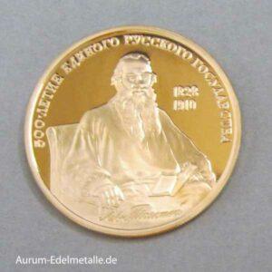 Russland 100 Rubel Goldmünze Leo Tolstoi 1991 PP 1_2 oz