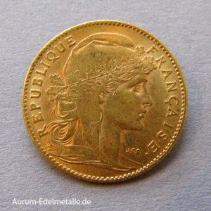 Frankreich 10 Francs Gold Marianne Coq
